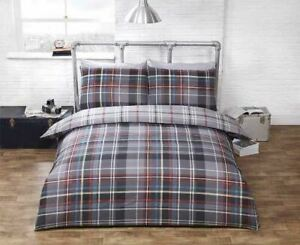 CHECK TARTAN GREY RED COTTON BLEND KING SIZE DUVET COVER