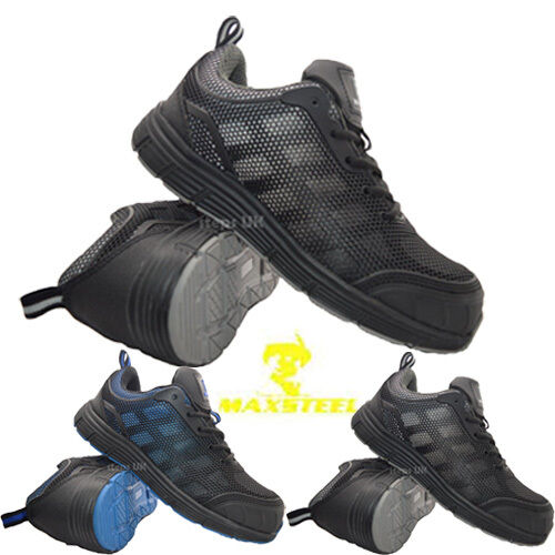 MENS LIGHTWEIGHT LACE UP STEEL CAP SAFETY TRAINERS BREATHABLE WORK BOOTS SHOES S
