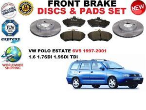 para-VW-POLO-Familiar-6v5-1-6-1-7-1-9-97-01-Discos-freno-Delantero-Set
