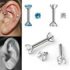 Pair 16G CZ Gem Steel Barbell Ear Tragus Cartilage Helix Stud Earrings Piercing