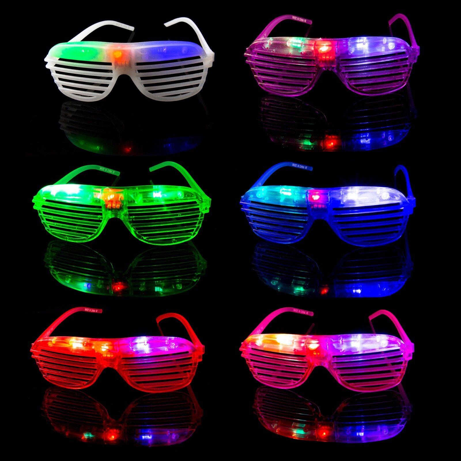 5 Flashing LED Shutter Glasses Light Up Rave Slotted Party Glow Shades Fun UK
