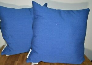 NWT-2-Pk-EVERTRU-Throw-Pillow-Removable-Cover-Canvas-Texture-Square-Blue-16x16