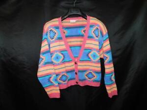 Vintage-80s-Nuovo-M-Blue-Purple-Pink-Southwestern-Cardigan-Sweater-V-Neck-Stripe