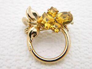 VTG-1950s-Gold-Tone-PEGASUS-CORO-Topaz-Rhinestone-Flower-Pin-Brooch