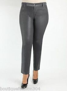 9be33fd8812 NWT New James Jeans Icon Plus Size Coated Legging Leather Dark Gray ...