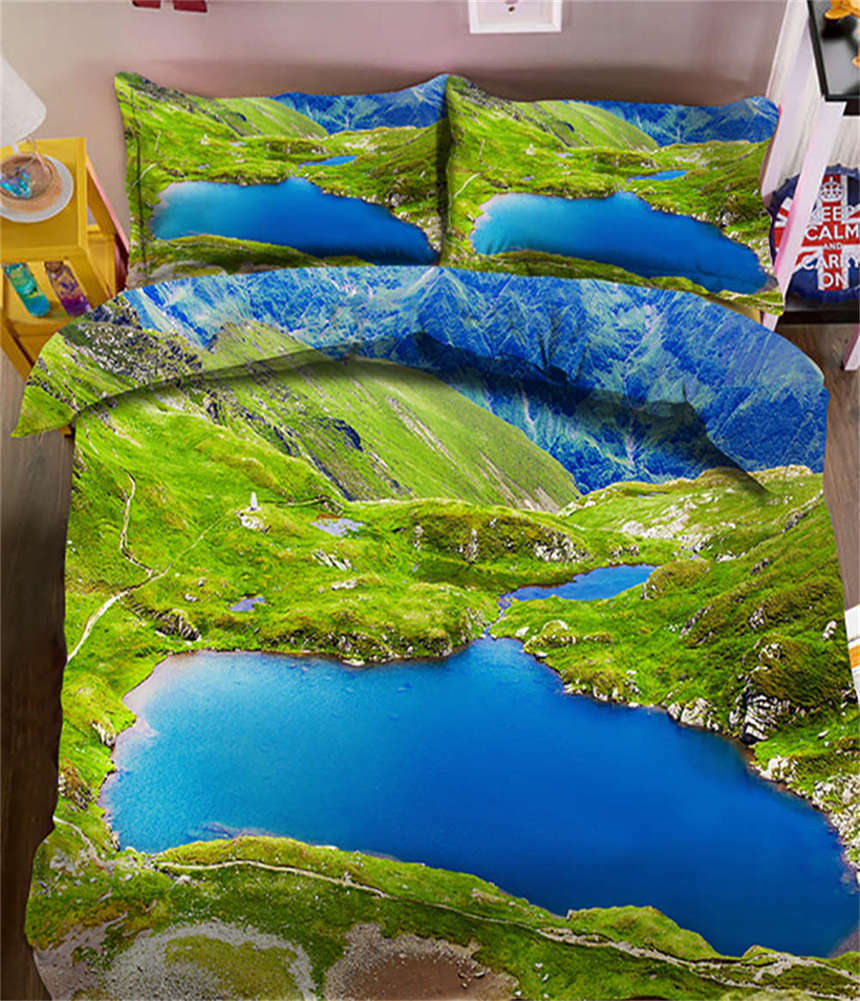 Overlook The Land 3D Printing Duvet Quilt Doona Covers Pillow Case Bedding Sets