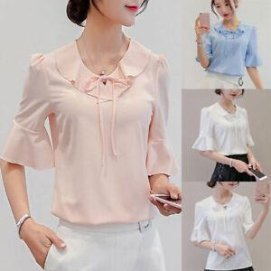 Loose-Summer-Top-Blouse-Chiffon-T-Shirt-Short-Sleeve-Ladies-Fashion-Women-Shirt