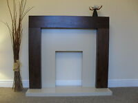 Gas Electric Walnut Wood Cream Marble Stone Fireplace Suite Downlights Large 54
