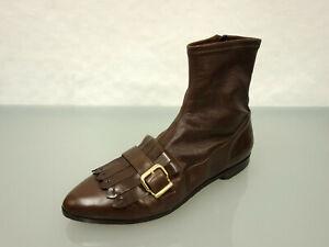 365-TRUMAN-039-S-Leder-Stiefelette-Gr-39-5-Haferlasche-Schuhe-Leather-Boots-Braun