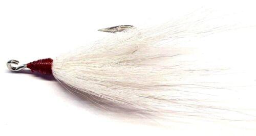 5//0 Striper Fluke Open Eye Bucktail Teaser Hooks for Plugs Rigs Lures 25 White