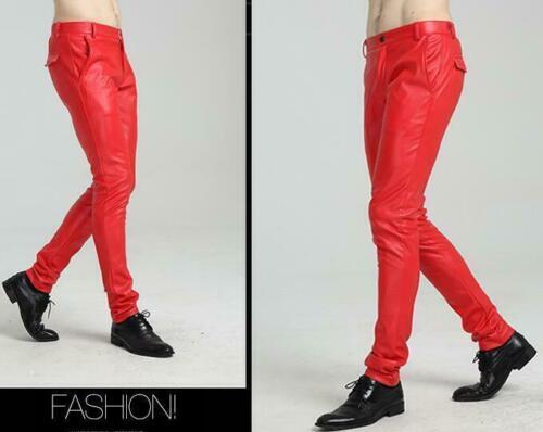 Hommes en Simili Cuir Pantalon en cuir noir solide taille plus couleurs Chaud Motard Pantalon
