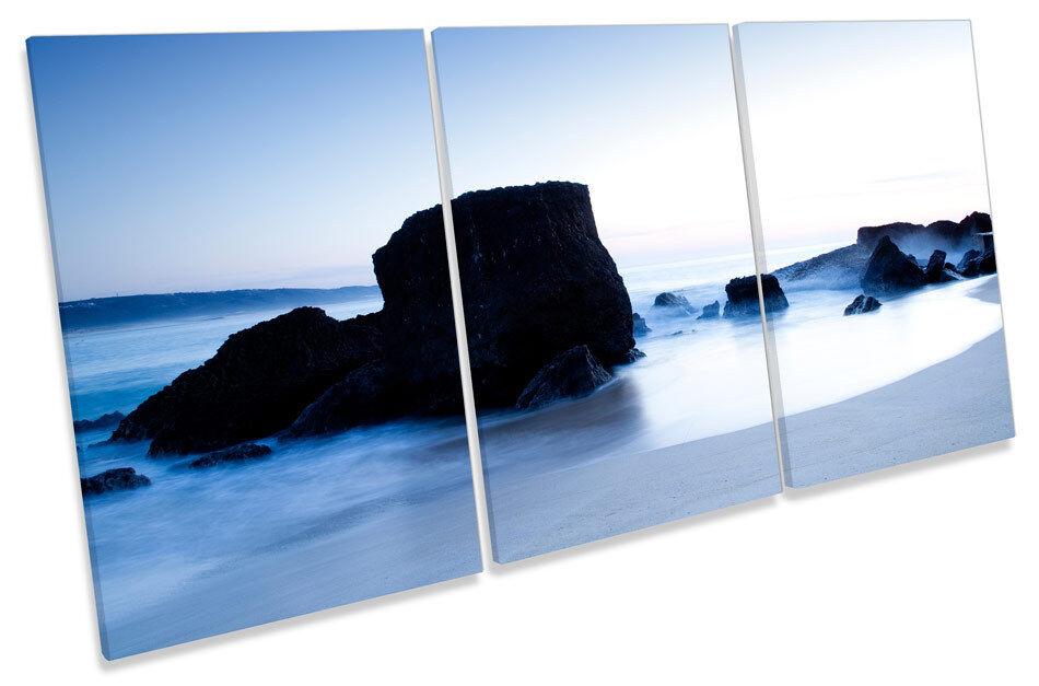 Sunset Beach Blau TREBLE CANVAS WALL ART ART ART Print Picture 7bd75d
