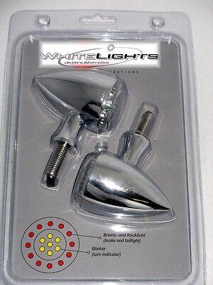 LED Rücklicht Bremslicht Blinker Bullet rund Colorado Harley Davidson chrom 3in1