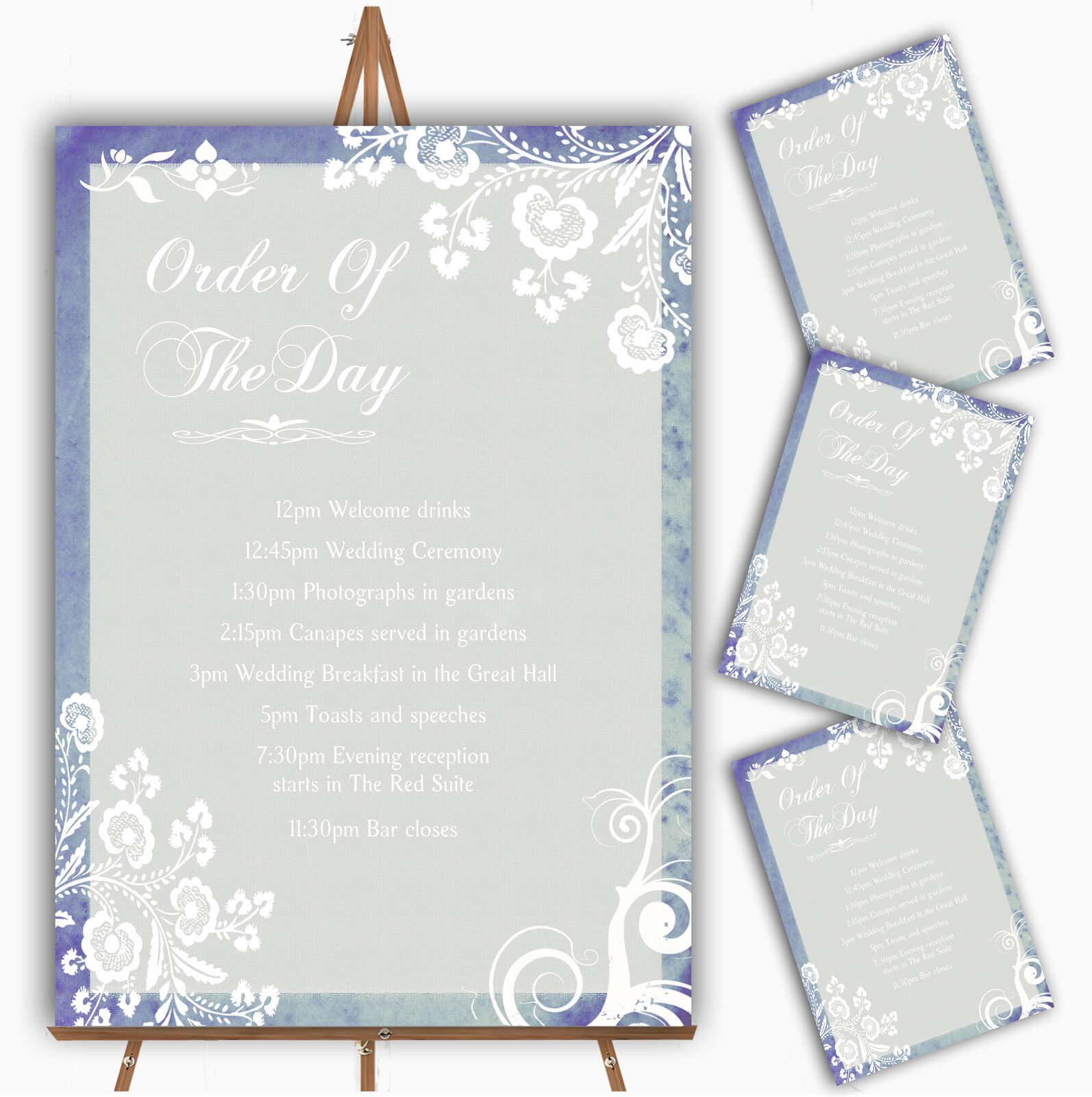 Rustic Blau Lace Personalised Wedding Order Of The Day Cards & Signs