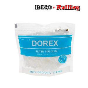 Filtros DOREX 6 mm. 10 bolsas de filtros. 500 filtros por bolsa. Liar tabaco