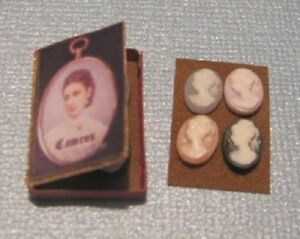 Tiny Black or Blue Dollhouse Miniature Cameo Your Choice of One