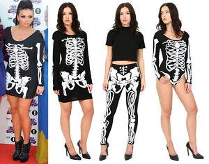 Womans-Halloween-Bodycon-Fancy-Dress-Skeleton-Leggings-Bodysuit-Party-Costume-BN