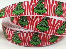 "By The Yard 7/8"" Grinch Christmas Grosgrain Ribbon Hair Bow Lisa"
