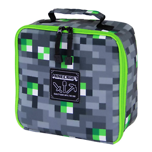 MINECRAFT EMERALD BLOCK PVC /&Lead-Safe Insulated Vertical Lunch Tote Box Bag NWT