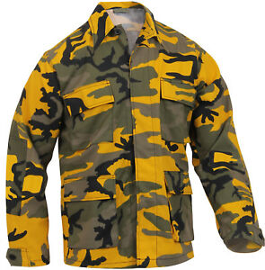 Image is loading Mens-Yellow-Camouflage-Military-BDU-Shirt-Tactical-Uniform- f42dc992e71