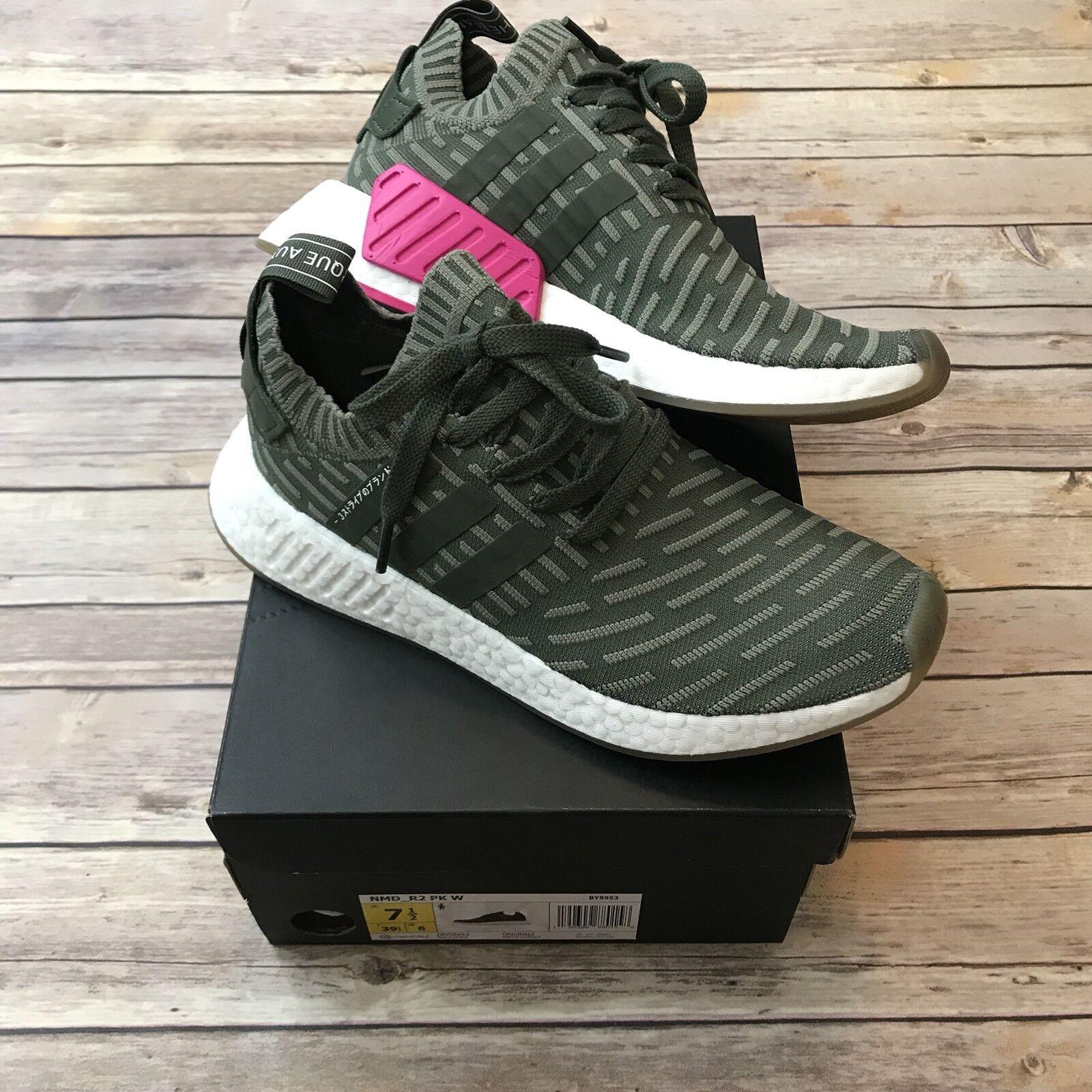 Adidas Sz 7.5 NMD R2 PK W Major, Shock Pink Primekint Sneakers Womens BY9953