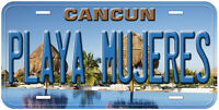 Playa Mujeres Cancun Mexico Aluminum Novelty Auto Car License Plate