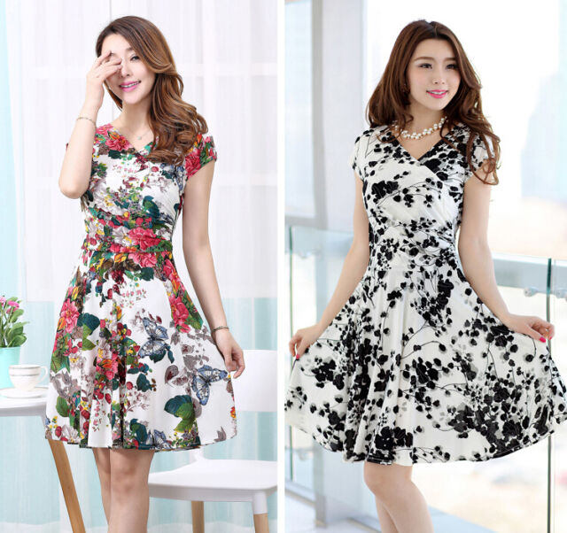 Womens Short sleeve Summer Dress Stretch Short Cocktail Casual Party Daily Dress