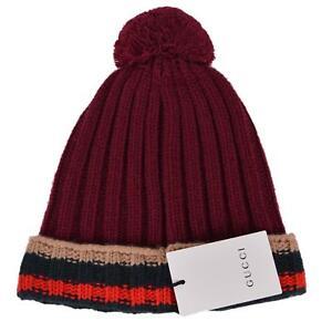19246b8cb403f NEW Gucci Men s 414274 Burgundy 100% Wool Striped Beanie Ski Hat
