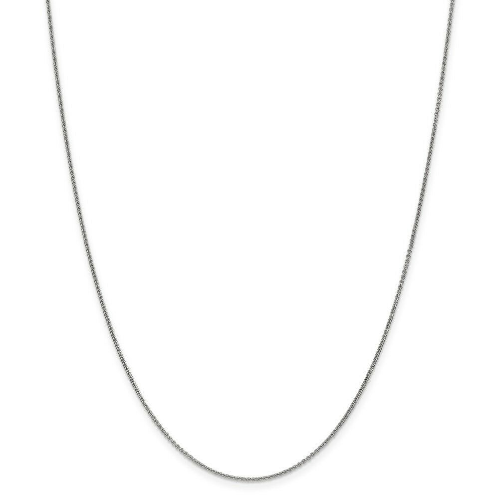 14kt White gold 1mm Cable Chain; 14 inch