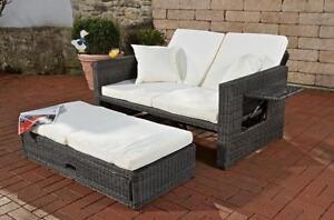 gartensofa verstellbar 3 mm polyrattan grau garten sofa liegefunktion couch ebay. Black Bedroom Furniture Sets. Home Design Ideas