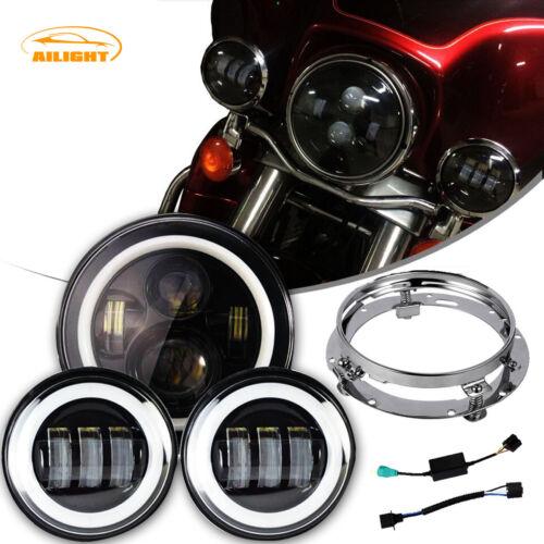 """7/"""" LED Headlight Passings Light Black For Harley Davidson Touring Road King"""