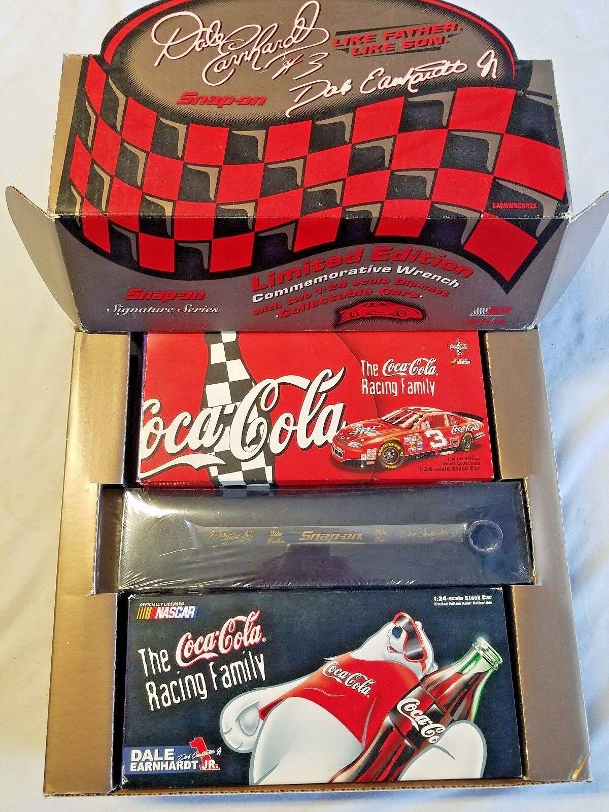 Snap-on Coke Dale Earnhardt Sr Sr Sr & Jr Like Father Like Son 2 Collectors Set 2d39cc