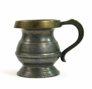 Antique Victorian Pewter & Brass 1/2 Gill Tankard Measure VR Mark