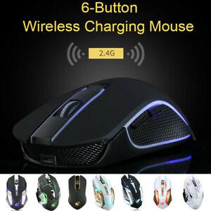 T1 Wireless Rechargeable Silent LED Backlit USB Optical Ergonomic Gaming Mouse V