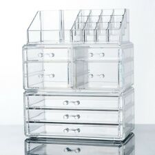 Makeup Cosmetics Jewelry Organizer Display Box Storage w/Drawers Space Saving
