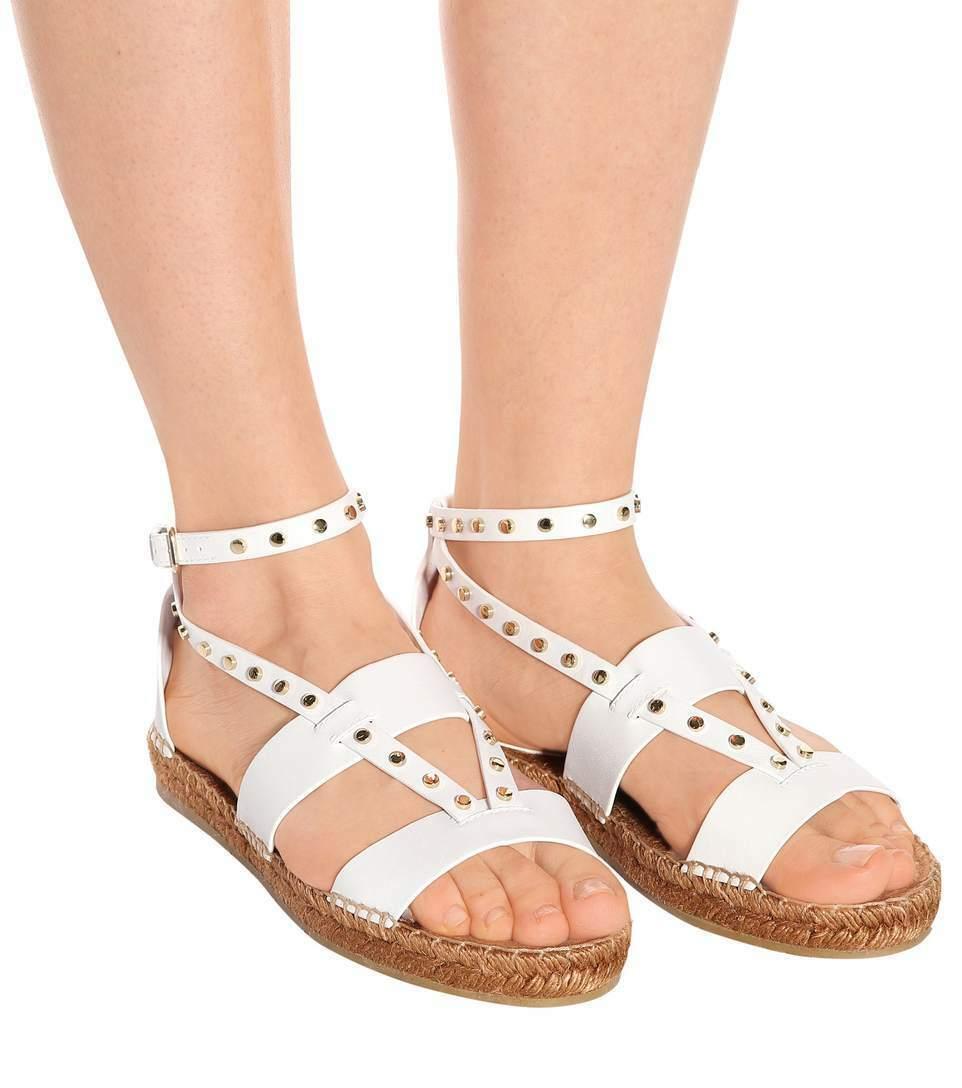 Jimmy Choo Denise Flat Studded Sandals Espadrilles White Leather Pumps shoes 40