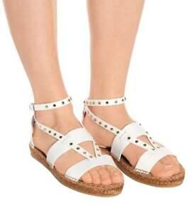 2ed27504e0b Image is loading Jimmy-Choo-Denise-Flat-Studded-Sandals-Espadrilles-White-
