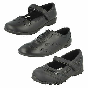 a9bceaf9a822 GIRLS G2G FLAT BROGUE LACE UP RIPTAPE STRAP STAR PLAIN BLACK SMART ...