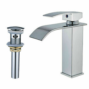 Chrome-Single-Handle-One-Hole-Bathroom-Sink-Faucet-Mixer-Tap-With-Pop-Up-Drain
