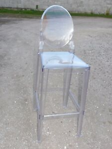 TABOURET BAR CHAISE HAUTE PLEXI TRANSPARENT KARTELL DESIGN STARCK DOCCASSION
