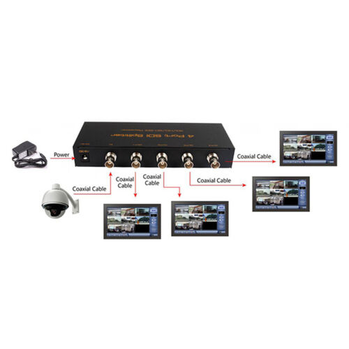 New SDI 1x4 Splitter Distribution Extender Repeater SDI HD-SDI 3G-SDI 1080P