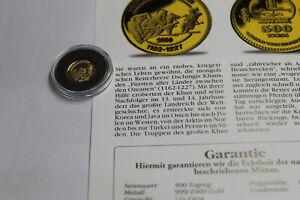 """die Kleinsten Goldmünzen"" - Mongolei - 500 Togrog 2000 - Truppen - 1/25 Unze"