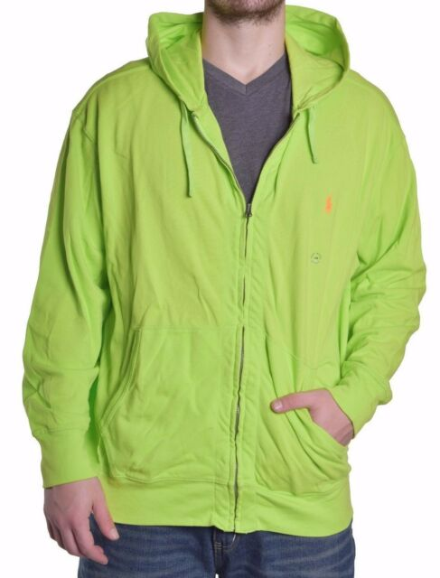 Mens Polo Ralph Lauren Lime Full Zip Mesh Hoodie Sweatshirt Big 2x