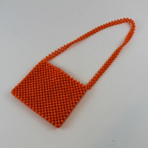 Vintage 1960's Raffia Orange Beaded Crocheted Boho