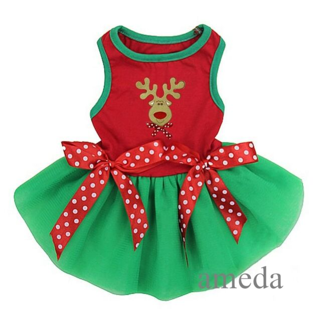 Xmas Reindeer Red Green Tutu Polka Dots Small Pet Dog Clothes Party Dress XS-L