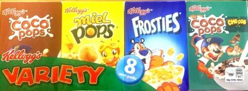 Kelloggs Variety Mix Cornflakes Travel Holiday Cereal 8 Pack Choco Pops Frosties