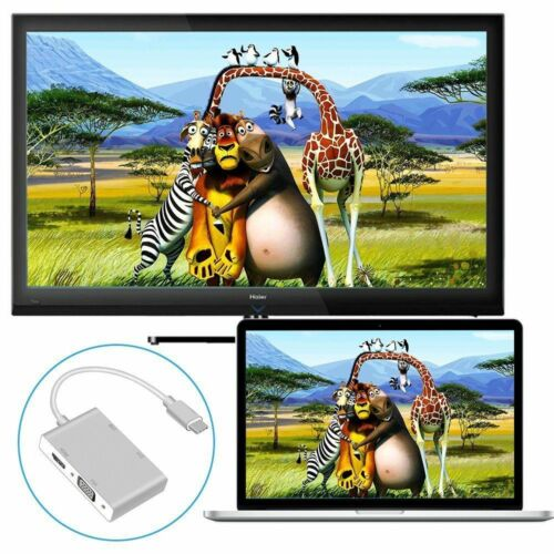 Type C to DVI HDMI VGA USB Video Adapter Cable for Macbook  MAC to TV Projector