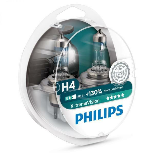 H4 PHILIPS Xtreme Vision 3700K 130+% Ultimate White Light Bulbs Headlamp