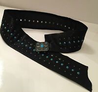 Cowgirl Country Western Belt Womens Rodeo Ladies Black Leather M Wide Studs