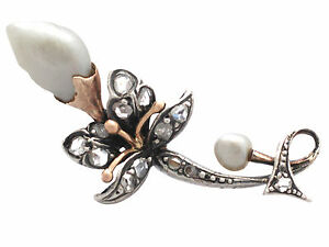 0-47-ct-Diamond-and-Baroque-Pearl-9-ct-Yellow-Gold-Silver-Set-Brooch-Antique